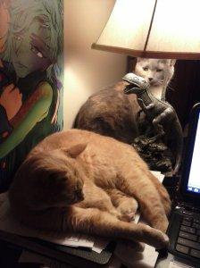 "Erika (the orange tabby) and Khoshekh (the dark calico) on Dani's desk ""helping"" her write!"
